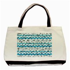 Baby Blue Chevron Grunge Basic Tote Bag (two Sides) by designworld65