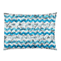 Baby Blue Chevron Grunge Pillow Case (two Sides)