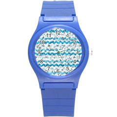 Baby Blue Chevron Grunge Round Plastic Sport Watch (s) by designworld65