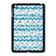 Baby Blue Chevron Grunge Apple Ipad Mini Case (black) by designworld65