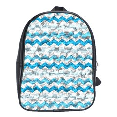 Baby Blue Chevron Grunge School Bag (xl)