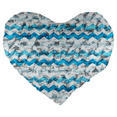 Baby Blue Chevron Grunge Large 19  Premium Heart Shape Cushions