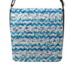 Baby Blue Chevron Grunge Flap Messenger Bag (l)