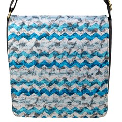 Baby Blue Chevron Grunge Flap Messenger Bag (s)