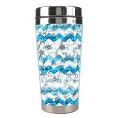 Baby Blue Chevron Grunge Stainless Steel Travel Tumblers by designworld65