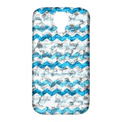 Baby Blue Chevron Grunge Samsung Galaxy S4 Classic Hardshell Case (pc+silicone)