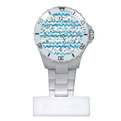 Baby Blue Chevron Grunge Plastic Nurses Watch