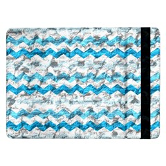 Baby Blue Chevron Grunge Samsung Galaxy Tab Pro 12 2  Flip Case by designworld65