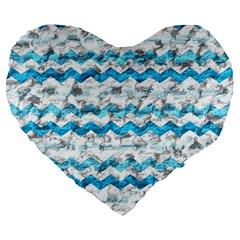 Baby Blue Chevron Grunge Large 19  Premium Flano Heart Shape Cushions by designworld65