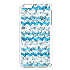 Baby Blue Chevron Grunge Apple Iphone 6 Plus/6s Plus Enamel White Case by designworld65
