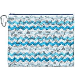 Baby Blue Chevron Grunge Canvas Cosmetic Bag (xxxl) by designworld65
