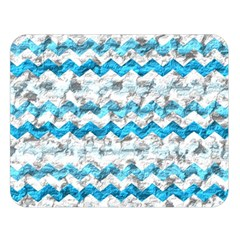 Baby Blue Chevron Grunge Double Sided Flano Blanket (large)  by designworld65