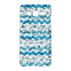Baby Blue Chevron Grunge Samsung Galaxy A5 Hardshell Case  by designworld65