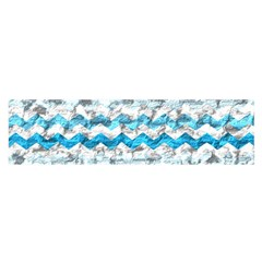 Baby Blue Chevron Grunge Satin Scarf (oblong)