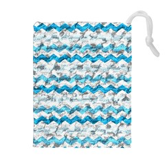 Baby Blue Chevron Grunge Drawstring Pouches (extra Large)