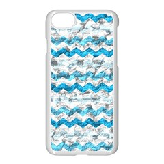 Baby Blue Chevron Grunge Apple Iphone 7 Seamless Case (white)