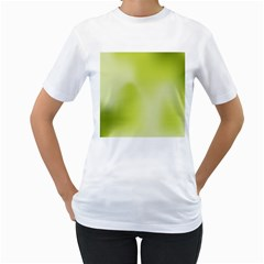 Green Soft Springtime Gradient Women s T-Shirt (White) (Two Sided)