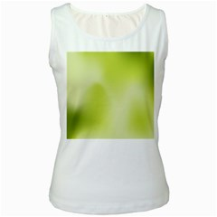 Green Soft Springtime Gradient Women s White Tank Top