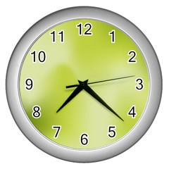 Green Soft Springtime Gradient Wall Clocks (silver)