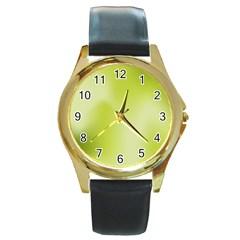 Green Soft Springtime Gradient Round Gold Metal Watch