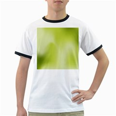 Green Soft Springtime Gradient Ringer T Shirts