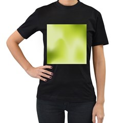 Green Soft Springtime Gradient Women s T-Shirt (Black) (Two Sided)