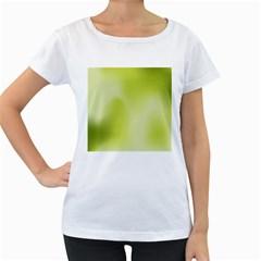 Green Soft Springtime Gradient Women s Loose-Fit T-Shirt (White)