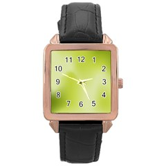 Green Soft Springtime Gradient Rose Gold Leather Watch