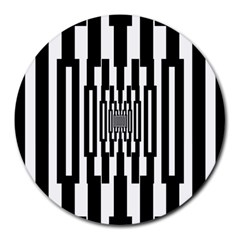 Black Stripes Endless Window Round Mousepads by designworld65
