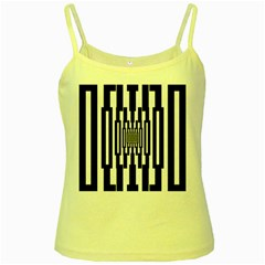 Black Stripes Endless Window Yellow Spaghetti Tank
