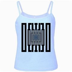 Black Stripes Endless Window Baby Blue Spaghetti Tank