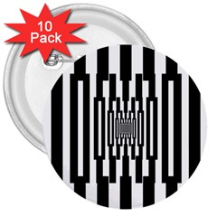 Black Stripes Endless Window 3  Buttons (10 Pack)