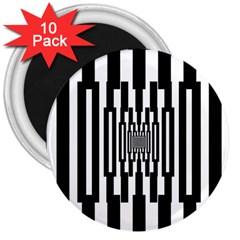 Black Stripes Endless Window 3  Magnets (10 Pack)