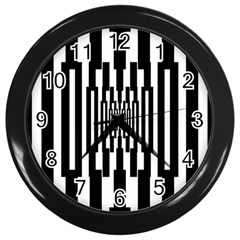 Black Stripes Endless Window Wall Clocks (black) by designworld65