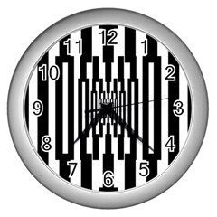 Black Stripes Endless Window Wall Clocks (silver)