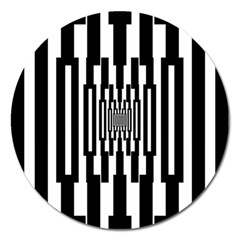 Black Stripes Endless Window Magnet 5  (round)
