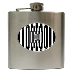 Black Stripes Endless Window Hip Flask (6 Oz)