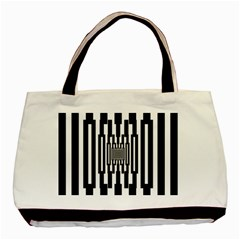 Black Stripes Endless Window Basic Tote Bag by designworld65