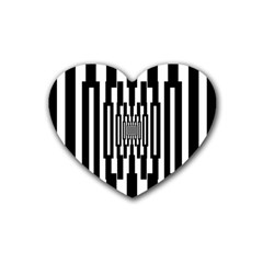 Black Stripes Endless Window Heart Coaster (4 Pack)  by designworld65