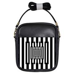 Black Stripes Endless Window Girls Sling Bags by designworld65