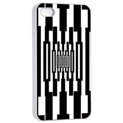 Black Stripes Endless Window Apple Iphone 4/4s Seamless Case (white) by designworld65