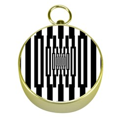 Black Stripes Endless Window Gold Compasses