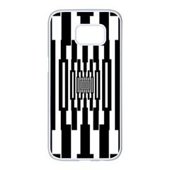 Black Stripes Endless Window Samsung Galaxy S7 Edge White Seamless Case by designworld65