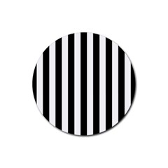 Black And White Stripes Rubber Round Coaster (4 Pack)