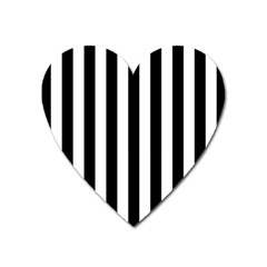 Black And White Stripes Heart Magnet by designworld65