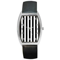 Black And White Stripes Barrel Style Metal Watch by designworld65