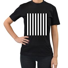 Black And White Stripes Women s T Shirt (black) (two Sided)