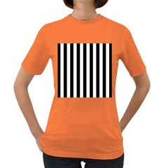 Black And White Stripes Women s Dark T Shirt