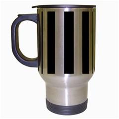 Black And White Stripes Travel Mug (silver Gray)