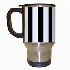 Black And White Stripes Travel Mugs (white)